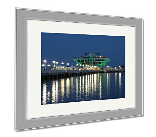 Ashley Framed Prints Pier In St Petersburg At Night Florida, Wall Art Home Decoration, Color, 34x40 (frame size), Silver Frame, - Malls In St Pete