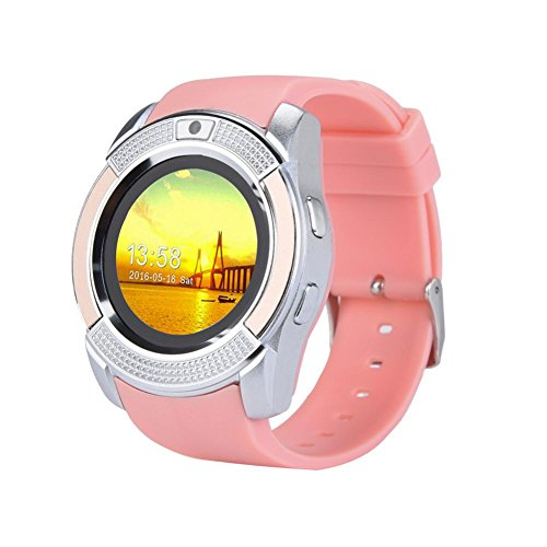 T3.0 Calling Touch Screen GSM 2G SIM Wrist Watch Phone Mate for iPhone IOS Android for Women Men Kids (Pink) ()