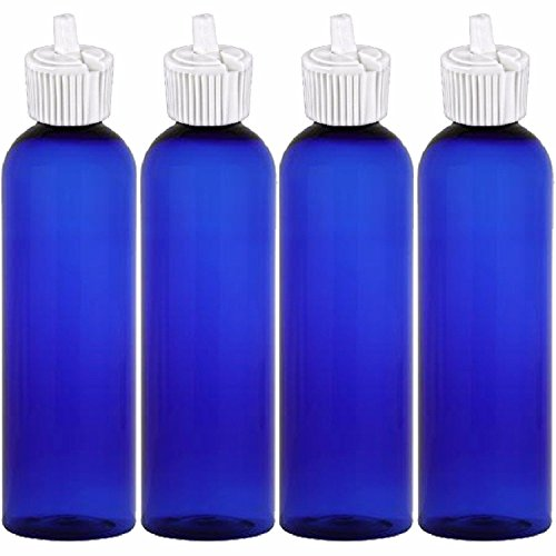 MoYo Natural Labs 4 oz Squirt Bottles, Squeezable Empty Travel Containers, BPA Free PET Plastic for Essential Oils and Liquids, Toiletry/Cosmetic Bottle (Neck 20-410) (Pack of 4, Blue)
