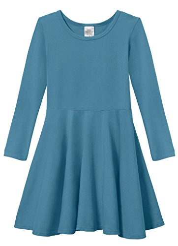 City Threads Little Girls' Super Soft Cotton Long Sleeve Twirly Skater Party Dress, Teal, -