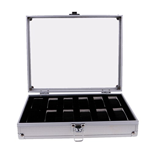 (MagiDeal Luxury Watch Box Watch Case Aluminum Glass Top Wristwatch Case Organizer Display Jewelry Store Briefcase - Silver 12 Slots)