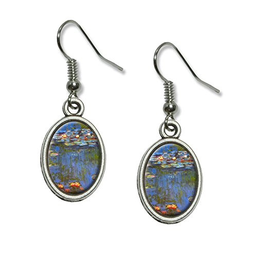 Water Lilies - Claude Monet Lillies Novelty Dangling Drop Oval Charm Earrings - Monet Dangling Earrings