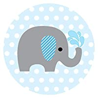 Baby Boy Elephant Stickers for Baby Shower and Birthday Favor Labels in Blue Polka Dot - Set of 50