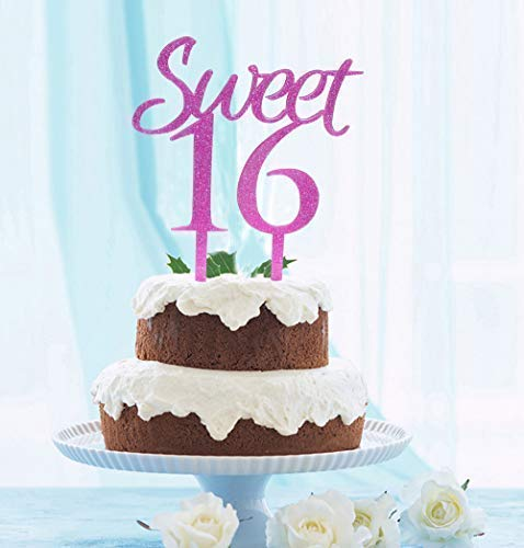 GrantParty Sweet 16 Cake Topper Purple Glitter- Sweet Sixteen Cake Topper - Happy 16th Birthday or Wedding Anniversary Party Decorations -