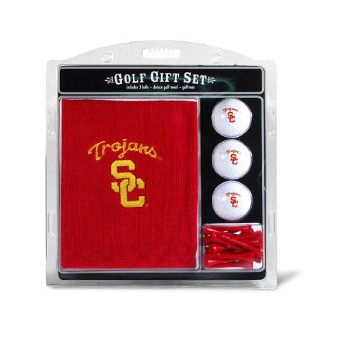 NCAA USC Trojans Embroidered Golf Towel, 3 Golf Ball, and Golf Tee Set (Usc Trojans Tee)