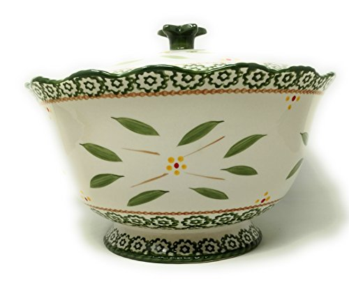 Stoneware Soup Tureen - Temp-tations 3qt Bowl with Stoneware Lid, Scallop & Flange (Old World Green)