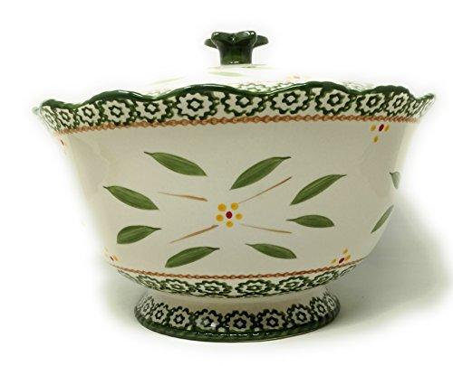 (Temp-tations 3 qt Bowl w/Stoneware Lid, Scallop & Flange (Old World Green))