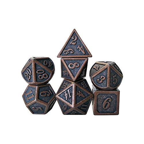 YH Poker 7PCS Metal Dice Set D&D Dice D20 D12 D10 D8 D6 D4 for Dungeons and Dragons DND RPG MTG Table Games Polyhedral Dice-New red Copper