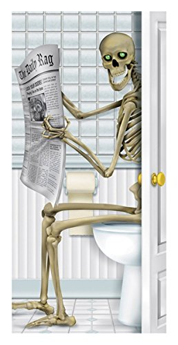 3 Halloween Bathroom Skull Bones Skeleton Restroom Door Covers -