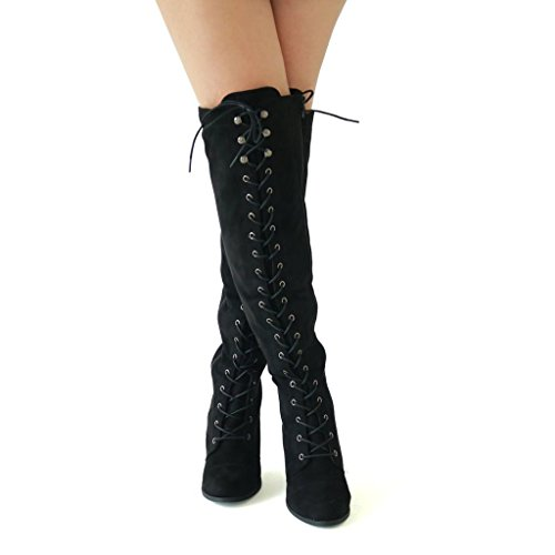 Womens Chunky Heel Overknee Hohe Reitstiefel Schnüren sich Korsett Oberschenkel Hohe Kampfstiefel Winter Schuhe Von ShoBeautiful Schwarz