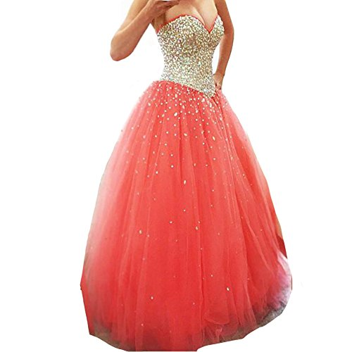 Long Tulle Crystals Ball Gown Sequined Top Corset Beaded Prom Quinceanera Dresses Coral US 14 - Corset Long Gown