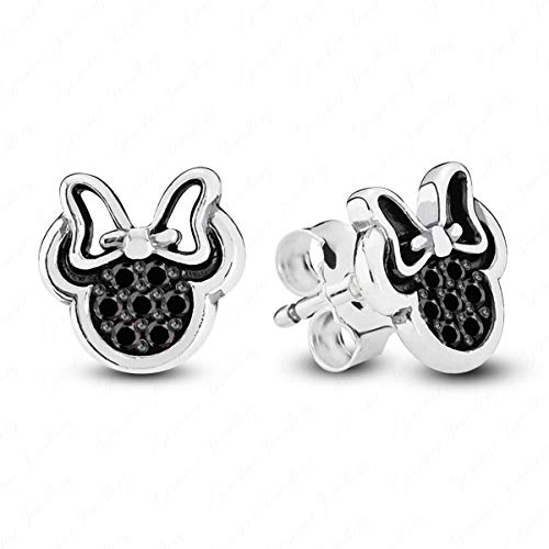 Gemstar Jewellery Black Simulated Diamond Two Tone Gold Finishing Minnie Mouse Icon Disney Stud Earrings ()