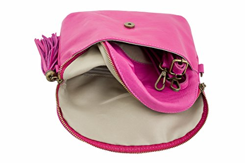 SUPERFLYBAGS Borsa Donna a Tracolla in vera pelle morbida modello Mada Small Made in Italy Fucsia