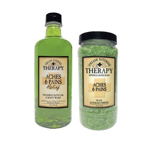 (Village Naturals Therapy Aches & Pains Relief Bundle - 16 fl oz Foaming Bath & Oil Body Wash and 20oz Mineral Bath Soak)