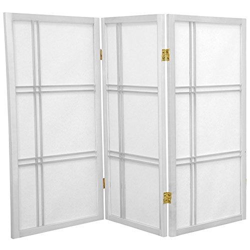 Oriental Furniture 3 ft. Tall Double Cross Shoji Screen - White - 3 Panels (2 Ft Tall Desktop Window Pane Shoji Screen)