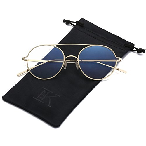 LKEYE Ultra-Light-Thin Sunglasses Unisex Round Style Small Memory Metal Frame LK1711 Gold Frame Clear Lens