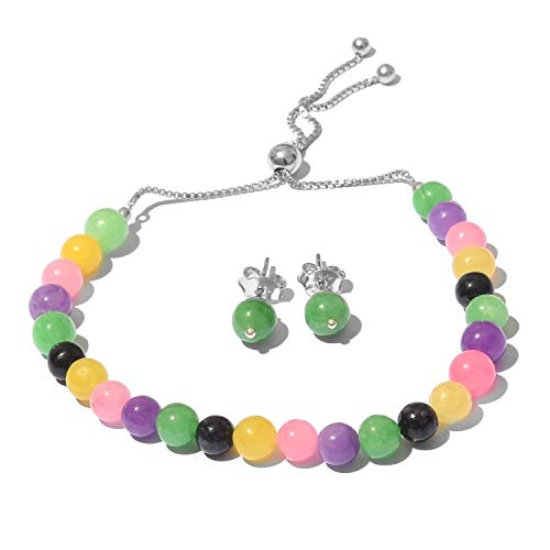 Burmese Multi Color Jade Sterling Silver Stud Earrings and Magic Ball Bracelet KS-45