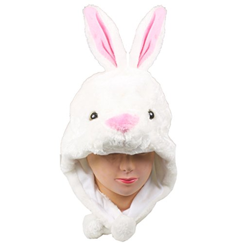 Choose From Over 25 Animals! - Plush Faux Fur Animal Critter Hat Cap - Soft Warm Winter Headwear - Short with Ear Poms and Flaps & Long with Scarf and Mittens Available (Critter - White Rabbit) - Adult White Rabbit Hat