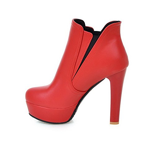 High Round Women's Boots AmoonyFashion Closed Toe Pu Solid Heels Zipper Red qYfYtSpw