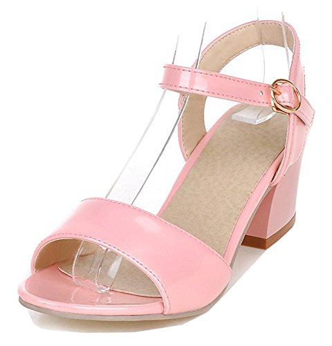 Aisun Donna Sandalo Grosso Con Cinturino Alla Caviglia - Punta Aperta Con Fibbia Dressy - Tacco Medio Semplice Brunito Rosa