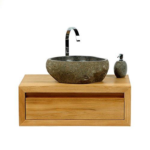 Naturstein Waschbecken 40 cm Aufsatzwaschbecken Stein innen poliert Badmöbel Waschschale Bad Natur pflegeleicht Unikat