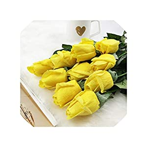 Grapefruit09 20Pcs/Set Rose Flowers Bouquet Royal Rose Upscale Artificial Flowers Silk Real Touch Rose Flowers Home Wedding Decoration,B Yellow 1
