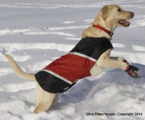 ULTRA PAWS REFLECTIVE RED DOG JACKET WATER RESISTANT ALL SIZES WINTER FLEECE LINED (Medium) by Ultra Paws (Image #1)