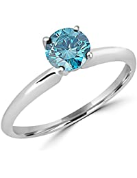 1/2 - 10 Carat Total Weight Round 18K White Gold Round Blue Diamond Ring (AAA Quality)