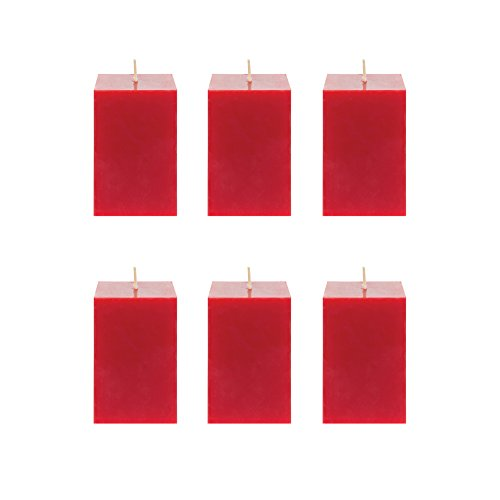 Wedding Pillar Square (Mega Candles 6 pcs Unscented Red Square Pillar Candle | Hand Poured Premium Wax Candles 2