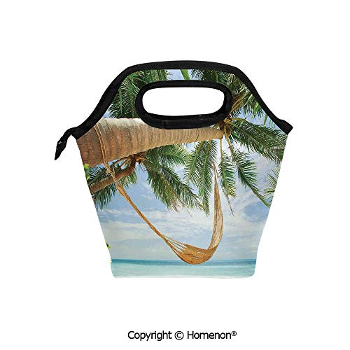 Insulated Neoprene Soft Lunch Bag Tote Handbag lunchbox,3d prited with View of Nice Hammock with Palms by the Ocean Sandy Shore Exotic Artsy,For School work Office Kids Lunch Box & Food Container