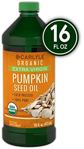 Carlyle Pumpkin Seed Oil 16oz Organic Cold Pressed | 100% Pure, Extra Virgin | Vegetarian, Non-GMO, Gluten Free | Safe for Cooking | Great for Hair and Face]()