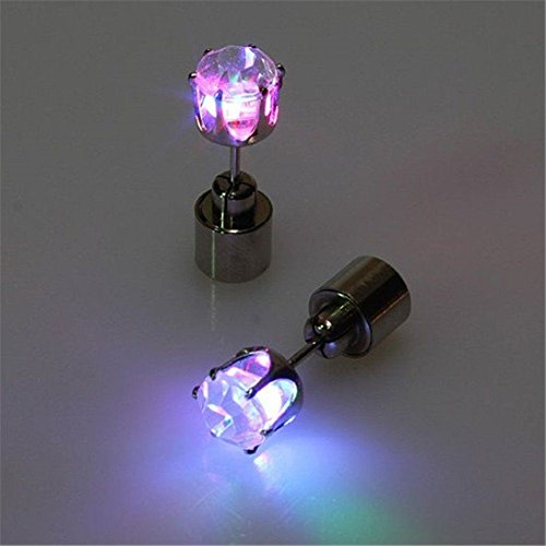 Pink  Led Glowing Light Up Earrings Flash Bling Ear Studs Dance Club Party Acc Gift