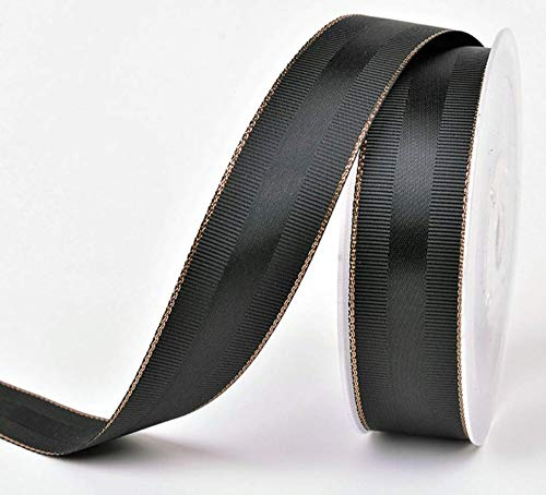 (Black and Rose Gold Grosgrain Ribbon 1 inch Wide, 10 Yards of Premium Double Face Fabric Ribbon with Rose Gold Trim and Black Silk Stripe for Corporate Gifts, Luxury Gifts, Christmas Gifts, Men Gifts)