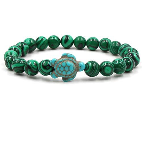 JJDSL Stone Bracelet,Fashion Green Turquoise Turtle Pendant Natural Malachite Beads Men and Women Elastic Bracelet for Beach, Party, ()