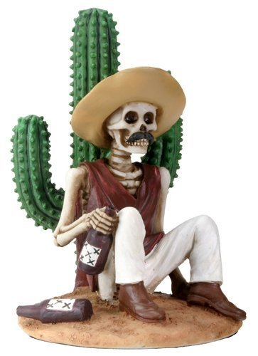 3.5 Inch Day Of The Dead Boracho Sitting By A Cactus (Sitting Skeleton)