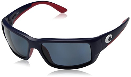 Costa del Mar Men's Fantail Polarized Rectangular Sunglasses, USA Blue Framegray 580P, 58.9 - Del Costa Mar Fantail