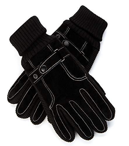 Mens Gloves Leather Winter Warm Running Outdoor Sport Windproof Black Non-slip Thick Driving Glove