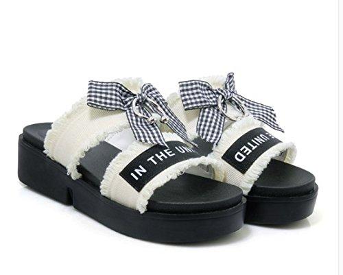 38 bow Da Ajunr inferiore di Pantofole trentasei 4cm Sandali White Alla Donna spessore Inezia Moda Ry6Zqy