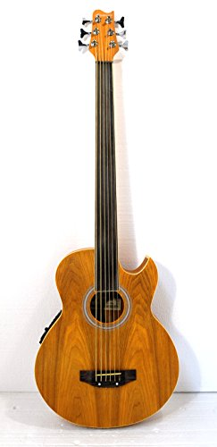 Fretless 6 String Acoustic Electric Cutaway Bass Guitar by Harmonia