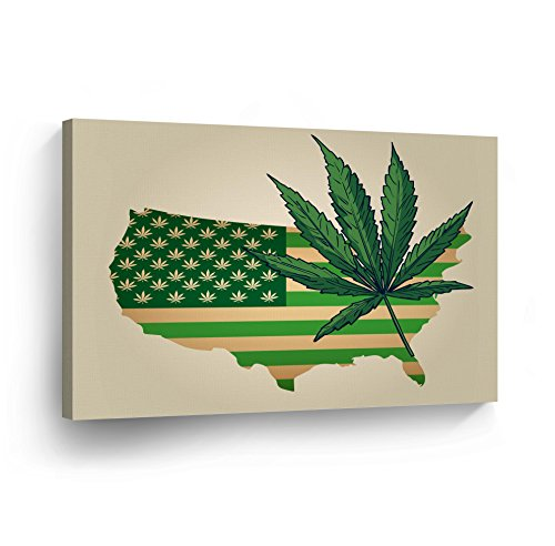 SMOKE WALL ART CANVAS PRINT Marijuana Leaf on Green American