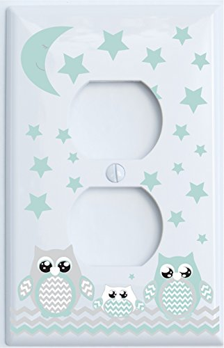 Grey and Seafoam Green Owl Outlet Covers/Owl Nursery Decor (Outlet Cover (Nursery Outlet Cover)
