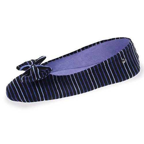 gran rayas Zapatillas Isotoner MUJER Terciopelo nudo q7Ag1wRn