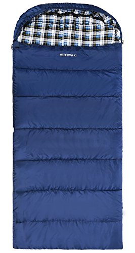 REDCAMP Cotton Flannel Sleeping Bag for Adults, XL 32F Comfortable, Envelope with Compression Sack Navy Blue 4lbs filling(95