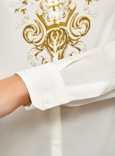 Bianco Stampata Camicetta Donna 1294e Dritta oodji Collection z8a7q74