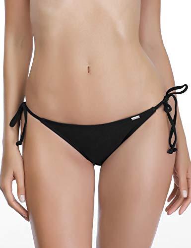 AXESEA Womens Swim Bottoms Side Tie Thong Bikini Swimsuit Swim Brief,Black-XL