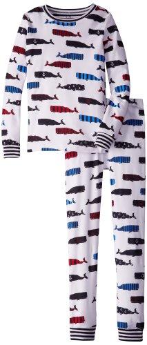 Hatley Little Boys' 27 Pajama Set (Ovl) Boy Whales, White, 6