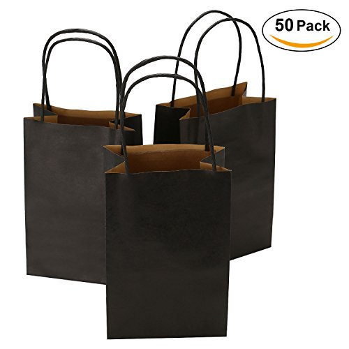 Road 5.25 x 3.25 x 8 Inches 50pcs Black Kraft Paper Bags with Handle, Shopping Bag, Retail bag, Craft Paper Bag, Merchandise Bag, Gift Bag, Party Bag by Road