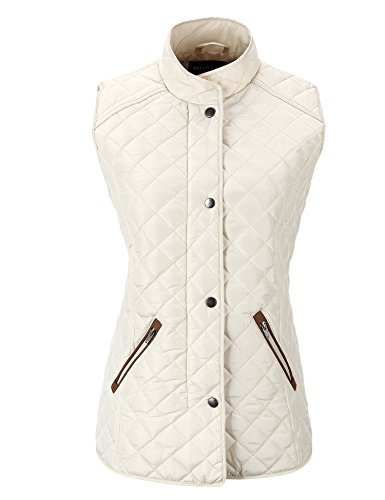 - Bellivera Women's Stand Collar Lightweight Gilet Quilted Puffer Padded Sleeveless Vest Jacket for Spring and Winter