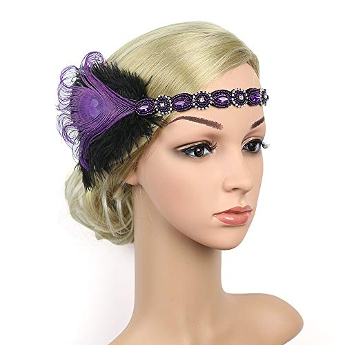1920s Flapper Headbands Great Gatsby Rhinestone Headpiece with Peacock Feather Jewel Hair Accessories (Purple)