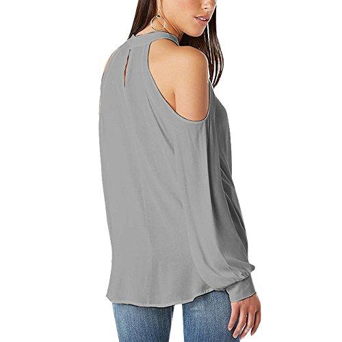 56a37146d5464b YOINS Women Blouse Crossed Front Design Cold Shoulder V-neck Lantern  Sleeves Top Grey L